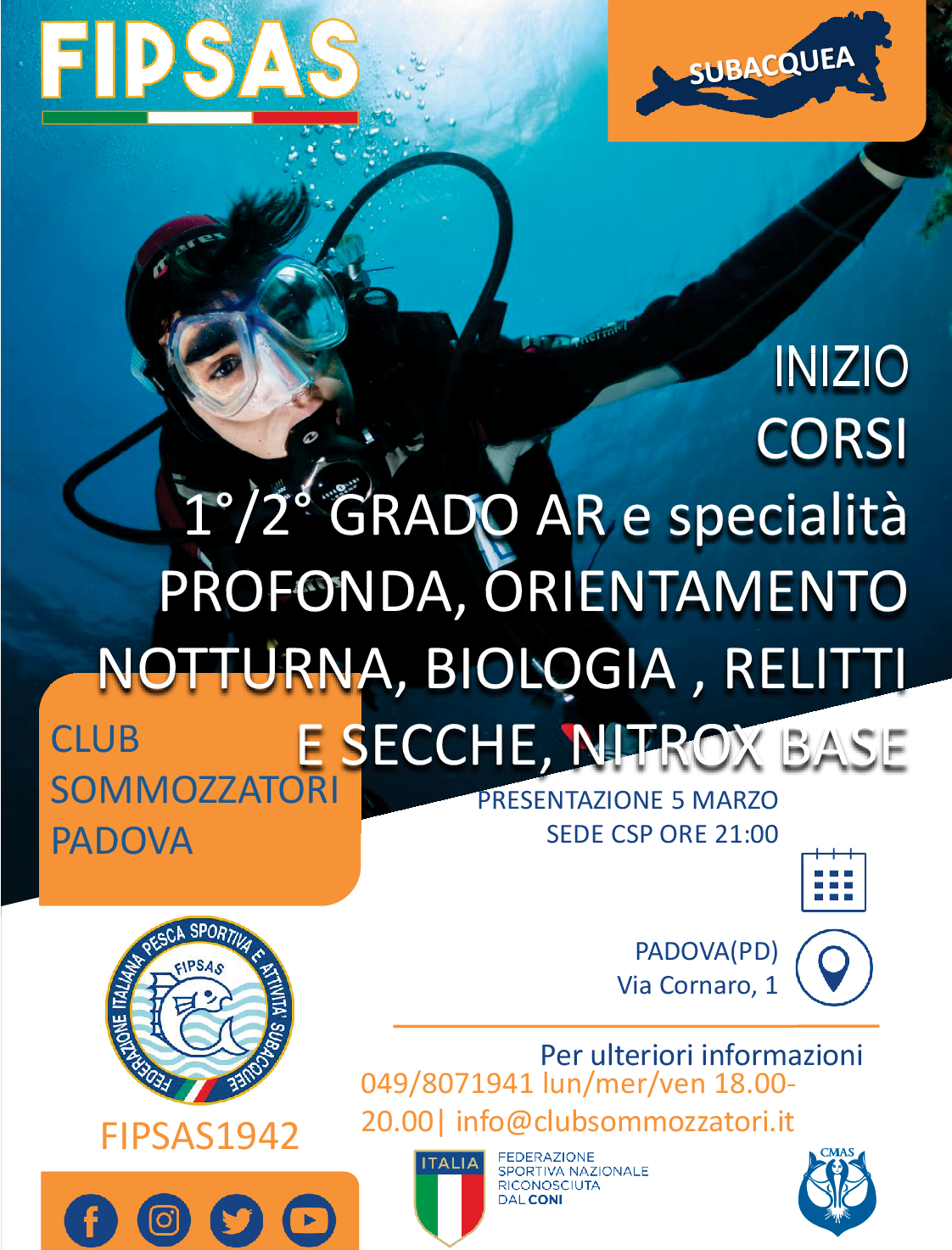 Locandina di presentazione dei corsi sub il 5 marzo 2020 alle ore 21 presso il Club Sommozzatori Padova
